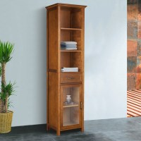 Chamberlain Oak-Finish Linen Tower Storage Cabinet ...