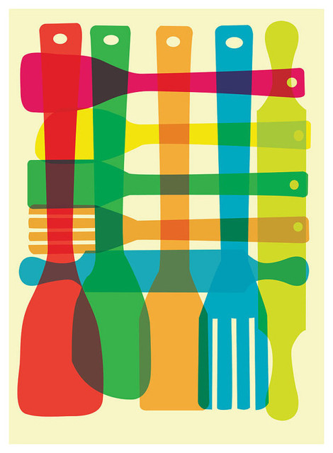 Utensil stack kitchen poster art midcentury prints and