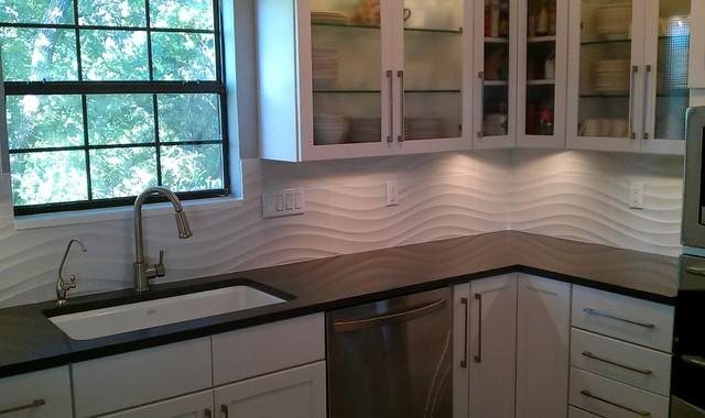 kitchen backsplash white wave panel tile contemporary kitchen asked richly detailed panels clean