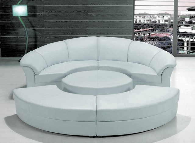 Konsolentisch Design Stylish White Leather Circular Sectional Sofa - Modern