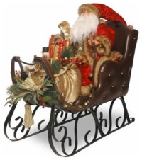 30 In. Santa on Sleigh Christmas Decoration - Traditional ...