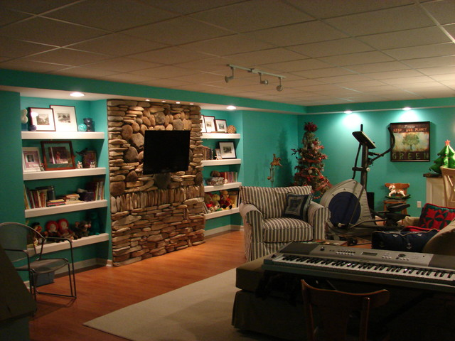 Portfolio Lighting Wall Sconces Coastal Cottage Basement Redo - Eclectic - Family Room