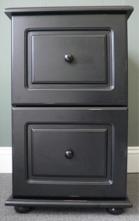 Black Wood Distressed Two-Drawer File Cabinet ...