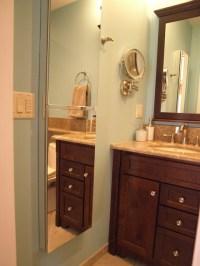 Semi-Recessed medicine cabinets create full height mirror ...