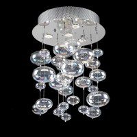 Bubble Glass Chandelier Pendant Ceiling Light with Rainbow ...