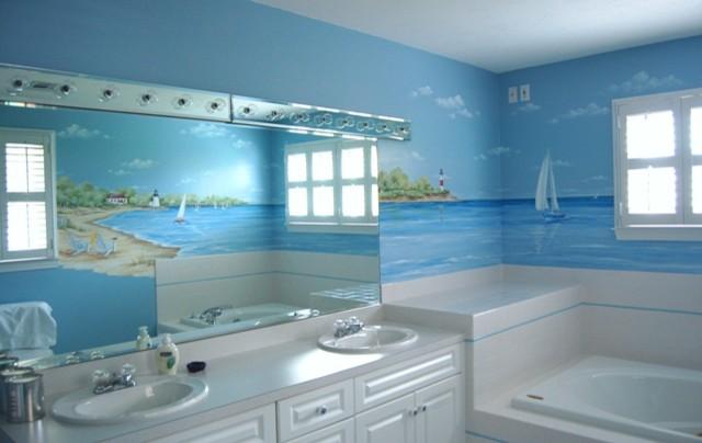 3d Wallpaper For House Walls India Beach Murals Beach Style Bathroom Boston By