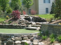 Putting Green with Retaining Wall and Waterfall Pond ...