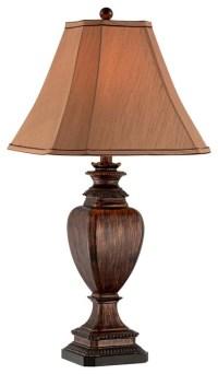 Brown Wood Grain Pedestal Table Lamp - Traditional - Table ...