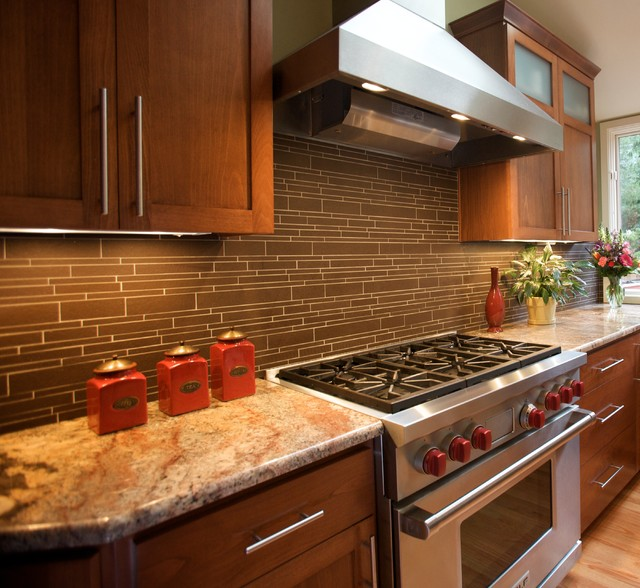 Wolf gas range and hood transitional kitchen