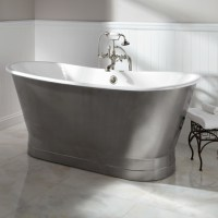 """68"""" Rowley Cast Iron Bateau Tub with Stainless Steel Skirt ..."""