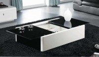 MODERN BLACK AND WHITE COFFEE TABLE WITH STORAGE AOSTA ...