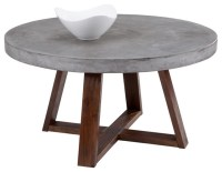 Sunpan Devons Rustic Concrete Round Coffee Table ...