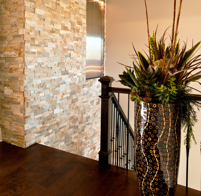 Staircase Hanging Lights Stone Veneer Wall - Contemporary - Staircase - Denver - By