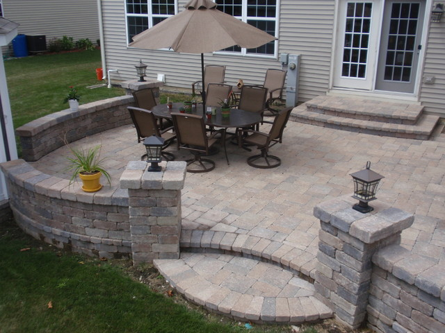 How To Build A Round Patio With Pavers Brick pavers on UNIBASE system, Lifetime Warranty - Traditional - Patio - chicago - by Unibase ...