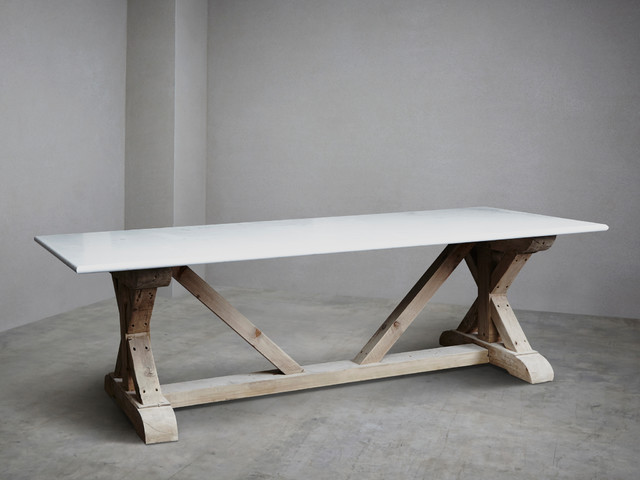 Carrara marble topped refectory stone table rustic