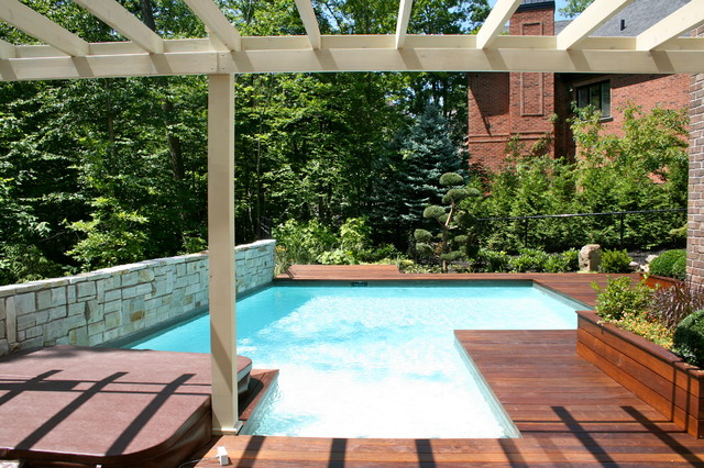 Pool And Patio Lighting Pool and wood deck - Modern - Patio - montreal - by TOPIA solutions jardins