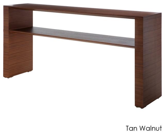 Inga console table tan walnut small modern side