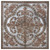 "LARGE 36"" SQUARE EMBOSSED METAL WALL DECOR - METALLIC ..."