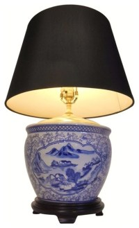 Blue and White Landscape Porcelain Table Lamp - Asian ...