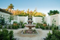 French style garden and fountain