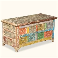 Rustic Patchwork Reclaimed Wood Coffee Table Chest ...