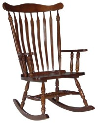 Solid Wood High-Back Rocking Chair in Cherry - Traditional ...