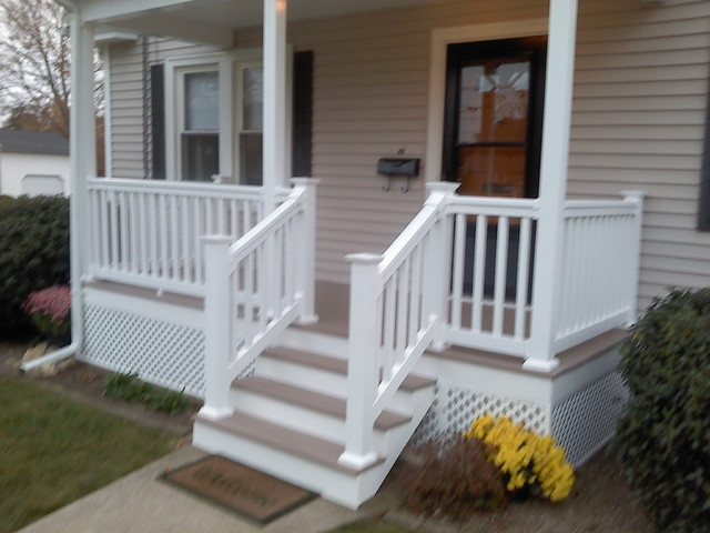 Oak Wood Front Porch Railing Front Porch and Deck - Traditional - Porch - providence - by KNM Construction