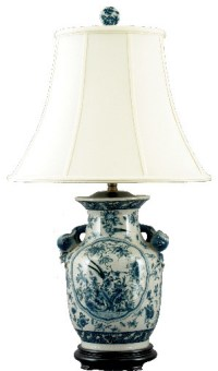 Asian Blue and White Porcelain Lamp - Traditional - Table ...