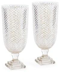 Diamondcut Glass Hurricane Lamp Lantern, Set of 2 Candle ...