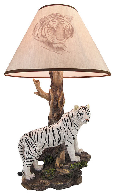 Illumined Tiger39 White Siberian Tiger Table Lamp