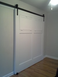 White sliding interior barn door - Contemporary - Living ...