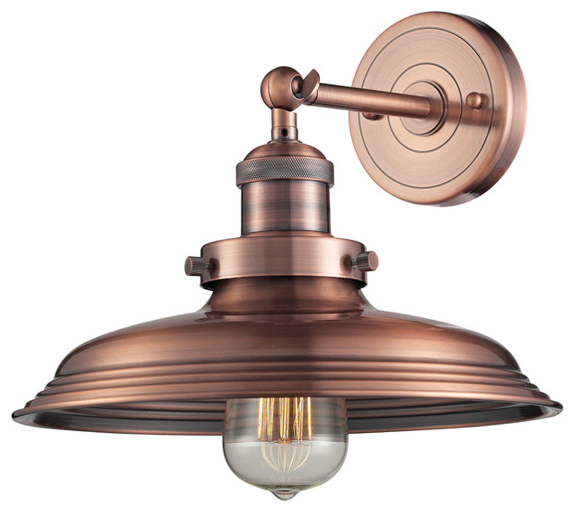 Farmhouse Wall Sconce Newberry 1-light Sconce In Antique Copper - Farmhouse