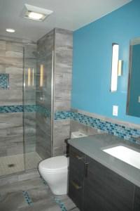 Master Bath Blue Glass Mosaic Accent Tile