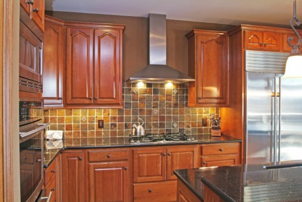 cherry cabinets slate backsplash traditional kitchen kitchen backsplash sandstone backsplash kitchen sandstone splashback