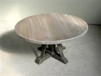 Driftwood Oak Coffee Table With Pedestal Base - Farmhouse ...