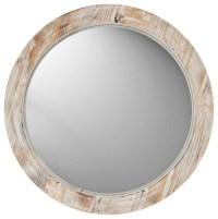 "Coastal Round 19"" Washed Wood Wall Mirror - Contemporary ..."