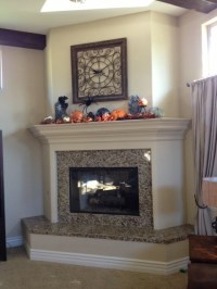 Should the mantel match the raised hearth?