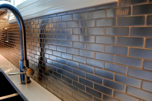 steel ceramic mini subway tile backsplash contemporary kitchen kitchen backsplash mini subway tiles eclectic kitchen