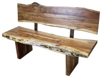 Western Wood Bench with Back - Rustic - Indoor Benches ...