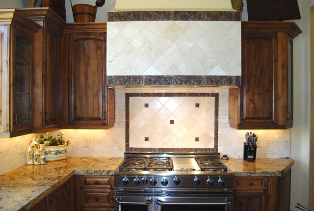 Tuscan Kitchen Cabinet Handles Tuscan Kitchen With Marble Tile Backsplash, Distressed