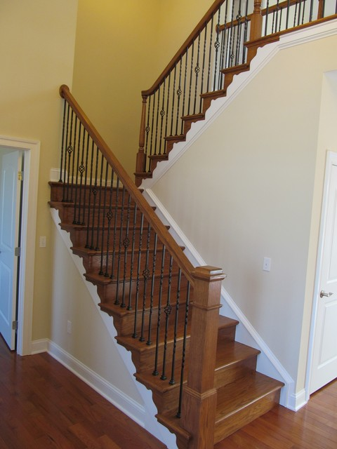 U Shaped Stairs Foyer U-shaped Staircase With Craftsman Newel Post