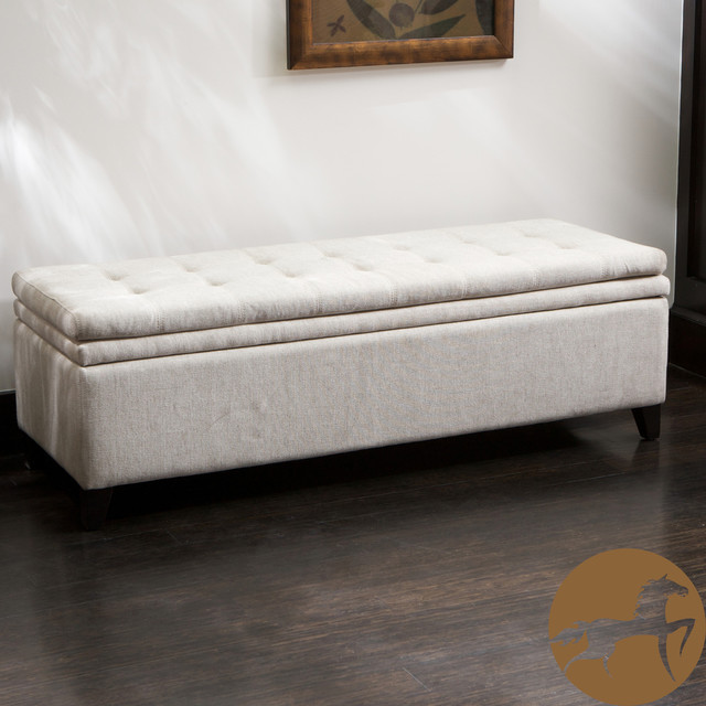 Bedroom Design Liverpool Christopher Knight Home Brighton White Linen Storage Ottoman - Traditional - Footstools And ...