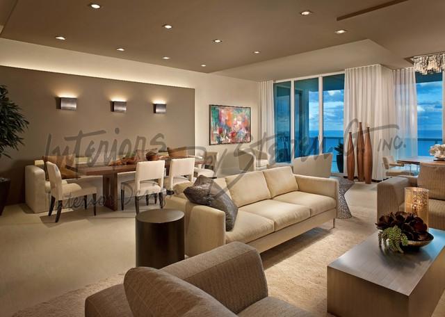 3d Wallpaper Decorating Ideas Interiors By Steven G Contemporary Living Room Miami