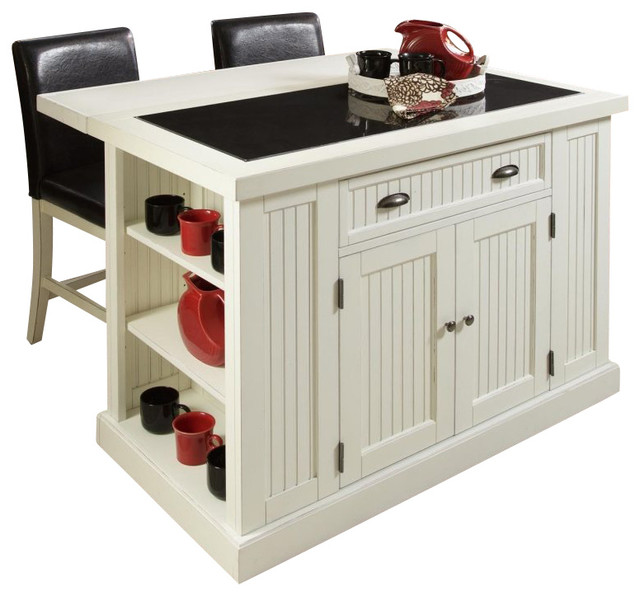 Nantucket Distressed White Finish Kitchen Island By Home Styles Home Styles Nantucket Island And Two Stools In Distressed
