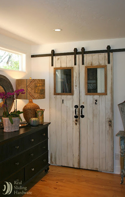 Houzz Rugs Reclaimed Barn Doors On Living Space - Farmhouse - Living