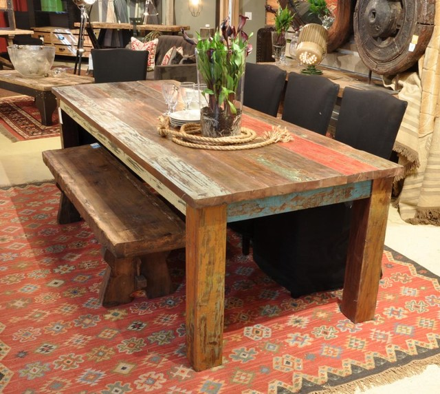 "Distressed Finish Dining Table Vintage Multicolor 107"" Dining Table - Rustic - Dining Room - new york - by BA Furniture Stores"