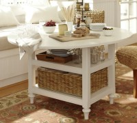 Pottery Barn Shayne Drop-Leaf Kitchen Table in antique white