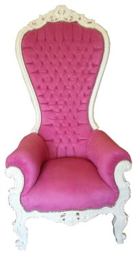 Princess French Throne Chair in Pink & White - Traditional ...