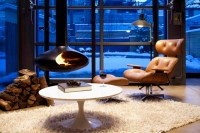 Fire Orb Hanging Steel Fireplace - Contemporary - Family ...