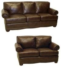 Shoreline Chocolate Italian Leather Sofa and Loveseat ...